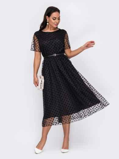 Черное платье батал в горох с расклешенной юбкой 52168, фото 1