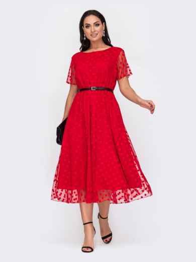 Красное платье батал в горох с расклешенной юбкой 52170, фото 1