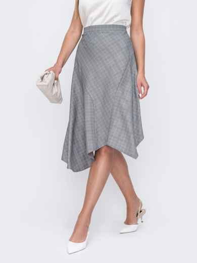 Асимметричная юбка из трикотажа в клетку серая 49408, фото 1