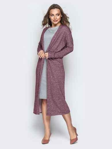 Бордовый комплект из кардигана и платья с короткими рукавами - 21177, фото 1 – интернет-магазин Dressa