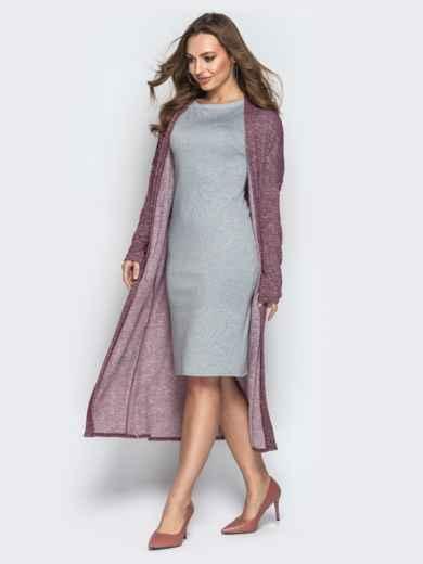 Бордовый комплект из кардигана и платья с короткими рукавами - 21177, фото 2 – интернет-магазин Dressa