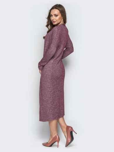 Бордовый комплект из кардигана и платья с короткими рукавами - 21177, фото 3 – интернет-магазин Dressa