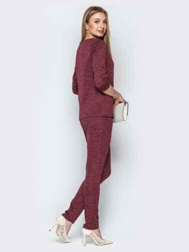 Брючный комплект из фактурного трикотажа бордовый - 21184, фото 2 – интернет-магазин Dressa