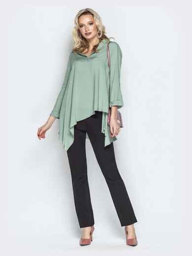 Брючный комплект с асимметричной рубашкой мятный - 21193, фото 1 – интернет-магазин Dressa