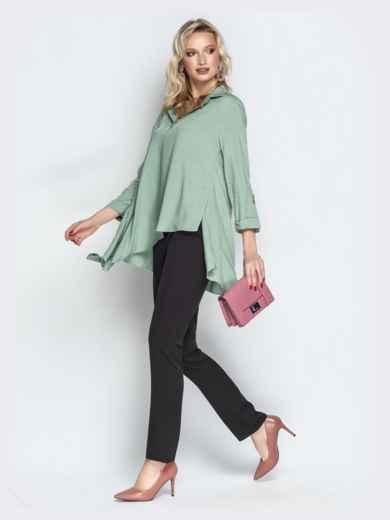 Брючный комплект с асимметричной рубашкой мятный - 21193, фото 2 – интернет-магазин Dressa