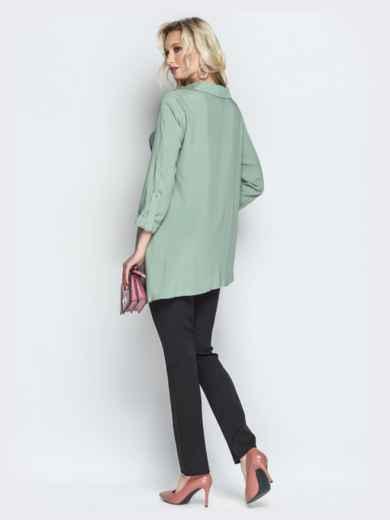 Брючный комплект с асимметричной рубашкой мятный - 21193, фото 3 – интернет-магазин Dressa