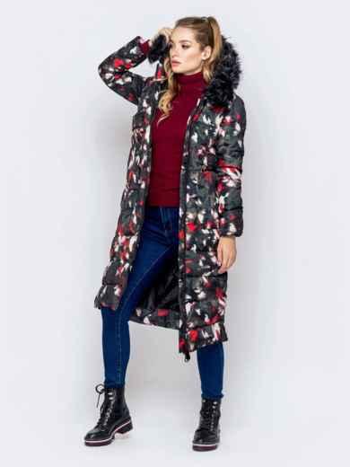 Длинная куртка с принтом и капюшоном чёрная - 40902, фото 2 – интернет-магазин Dressa