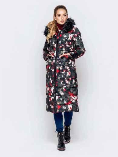 Длинная куртка с принтом и капюшоном чёрная - 40902, фото 4 – интернет-магазин Dressa