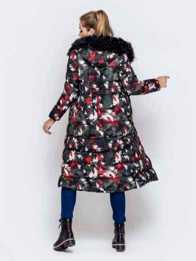Длинная куртка с принтом и капюшоном чёрная - 40902, фото 5 – интернет-магазин Dressa