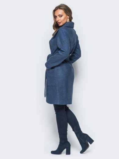 Пальто на запах с поясом в комплекте синее - 16566, фото 2 – интернет-магазин Dressa