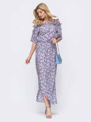 Платье-макси с принтом и напуском по талии сиреневое 46832, фото 1