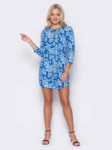 """Платье  с накатом """"цветы"""" и функциональной молнией синее 10749, фото 2"""