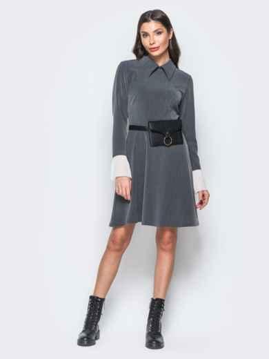 Платье серого цвета с воланами из шифона на рукавах - 17668, фото 4 – интернет-магазин Dressa
