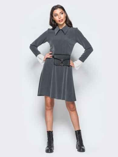 Платье серого цвета с воланами из шифона на рукавах - 17668, фото 5 – интернет-магазин Dressa