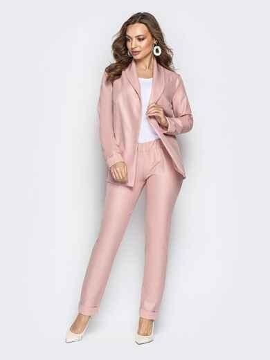 Розовый комплект-тройка с жакетом без застёжки и брюками - 21179, фото 1 – интернет-магазин Dressa