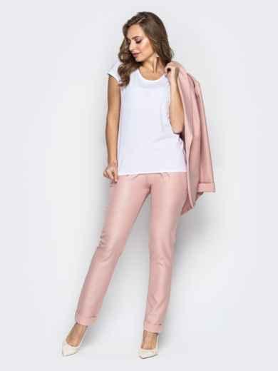 Розовый комплект-тройка с жакетом без застёжки и брюками - 21179, фото 3 – интернет-магазин Dressa