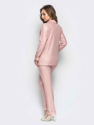 Розовый комплект-тройка с жакетом без застёжки и брюками - 21179, фото 4 – интернет-магазин Dressa