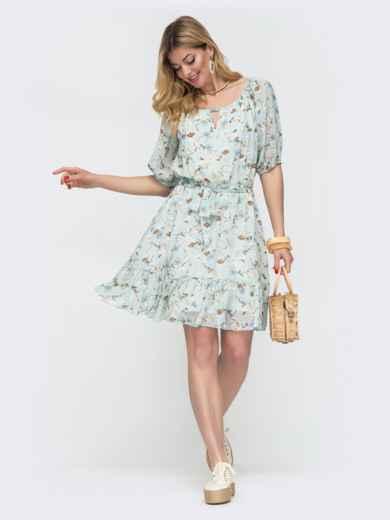 Шифоновое платье с подкладкой голубого цвета 48546, фото 1
