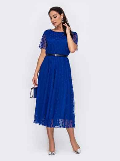 Синее платье батал в горох с расклешенной юбкой 52169, фото 1