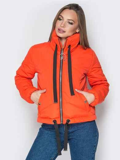 Укороченная куртка с карманами на кнопках оранжевая - 20072, фото 1 – интернет-магазин Dressa
