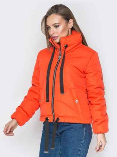 Укороченная куртка с карманами на кнопках оранжевая - 20072, фото 2 – интернет-магазин Dressa