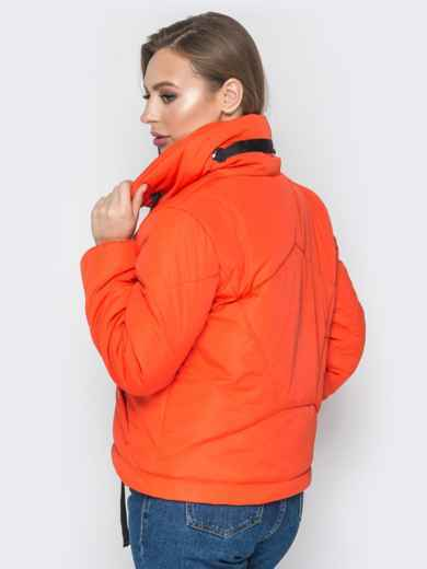 Укороченная куртка с карманами на кнопках оранжевая - 20072, фото 3 – интернет-магазин Dressa
