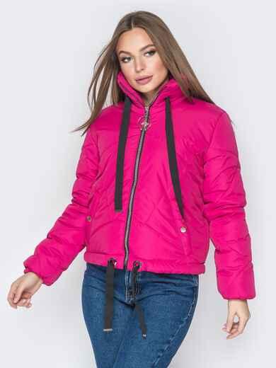 Укороченная куртка с карманами на кнопках розовая 20070, фото 1