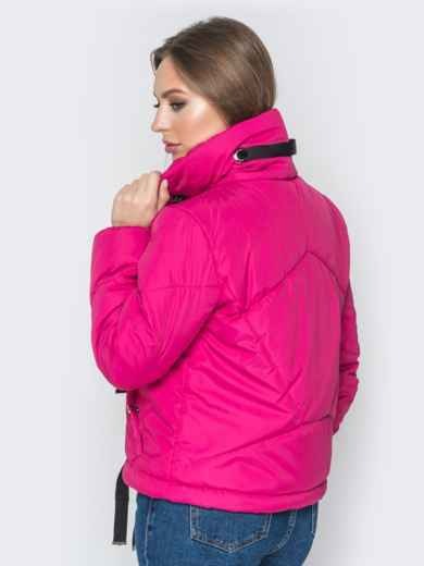 Укороченная куртка с карманами на кнопках розовая - 20070, фото 3 – интернет-магазин Dressa