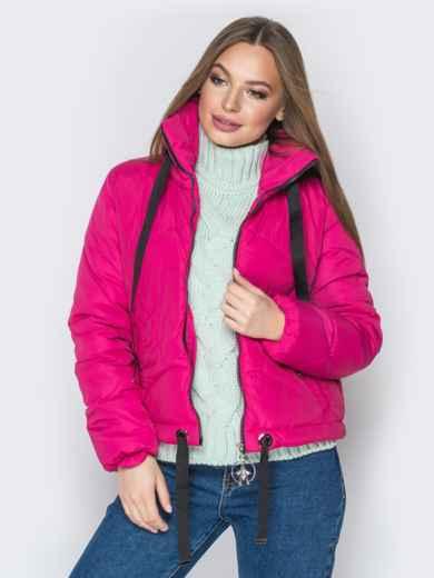 Укороченная куртка с карманами на кнопках розовая - 20070, фото 4 – интернет-магазин Dressa