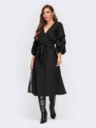 Черное платье на запах с объемными рукавами 55397, фото 1