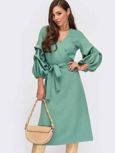 Платье на запах мятного цвета с объемными рукавами 55398, фото 1
