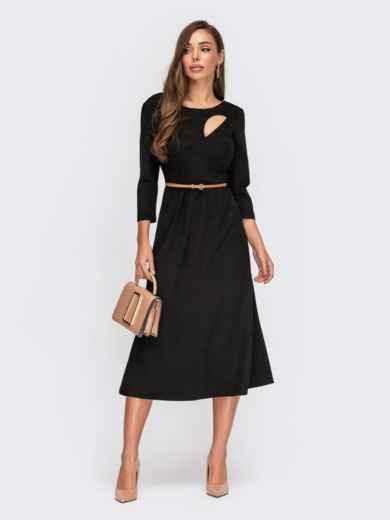 Замшевое платье с вырезом и юбкой-трапецией черное 55399, фото 1