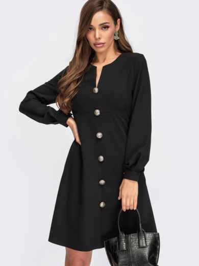 Короткое платье черного цвета с декоративными пуговицами 55401, фото 1