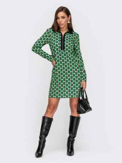 Зеленое платье-рубашка с принтом и длинным рукавом 55405, фото 1