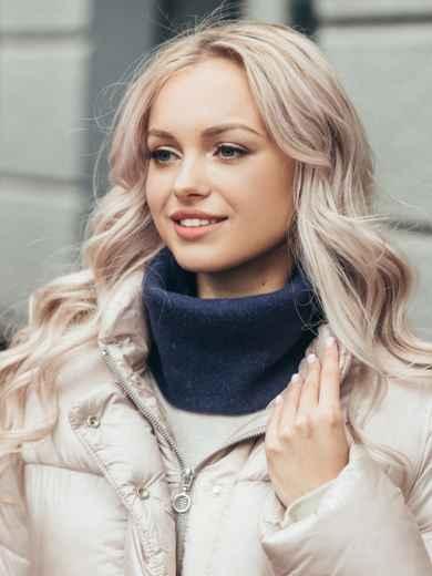 Тонкий шарф-хомут из мягкой ангоры синий 51085, фото 1