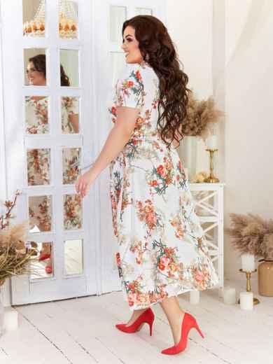 Белое платье батал свободного кроя с принтом 47176, фото 2