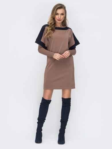 Бежевое платье-футболка с нитью люрекса 44130, фото 1