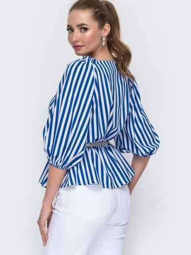 Блузка свободного кроя с баской в синюю полоску - 46788, фото 2 – интернет-магазин Dressa