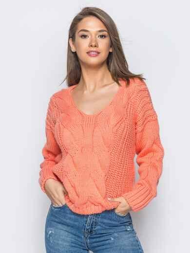 Джемпер оранжевого цвета с объемными рукавами - 17036, фото 1 – интернет-магазин Dressa