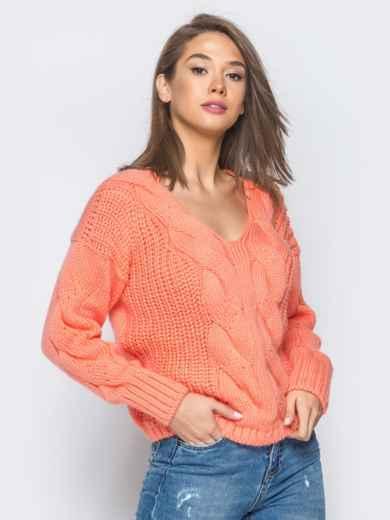 Джемпер оранжевого цвета с объемными рукавами - 17036, фото 2 – интернет-магазин Dressa