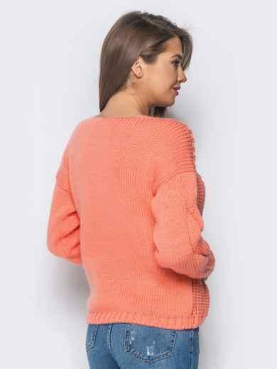 Джемпер оранжевого цвета с объемными рукавами - 17036, фото 3 – интернет-магазин Dressa