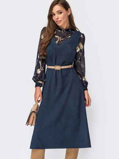 Комбинированное платье с длинными рукавами из шифона темно-синее 55404, фото 1