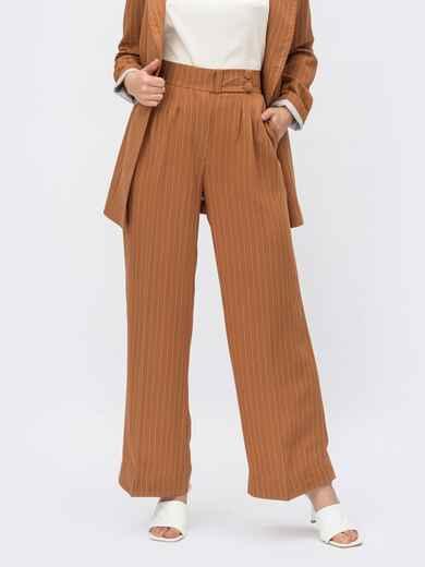 Коричневые брюки в полоску с высокой посадкой 54095, фото 1