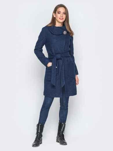 Пальто тёмно-синего цвета из букле с воротником-хомут - 18253, фото 1 – интернет-магазин Dressa