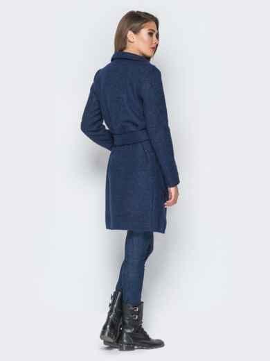 Пальто тёмно-синего цвета из букле с воротником-хомут - 18253, фото 2 – интернет-магазин Dressa