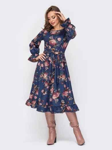 Платье из замши с принтом и расклешенной юбкой синее 52344, фото 1
