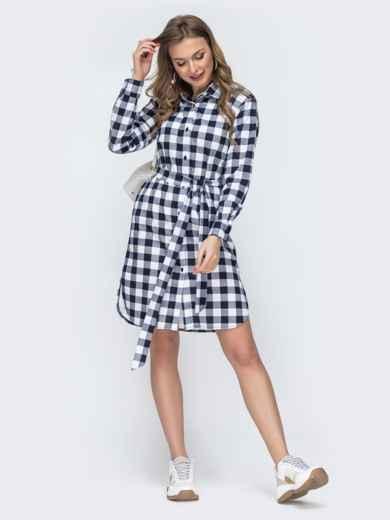 Платье-рубашка в синюю клетку - 45785, фото 2 – интернет-магазин Dressa