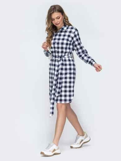 Платье-рубашка в синюю клетку - 45785, фото 3 – интернет-магазин Dressa