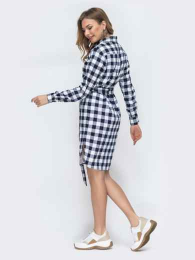 Платье-рубашка в синюю клетку - 45785, фото 4 – интернет-магазин Dressa