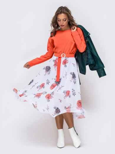 Платье с напуском по талии и принтованной юбкой коралловое - 41385, фото 1 – интернет-магазин Dressa